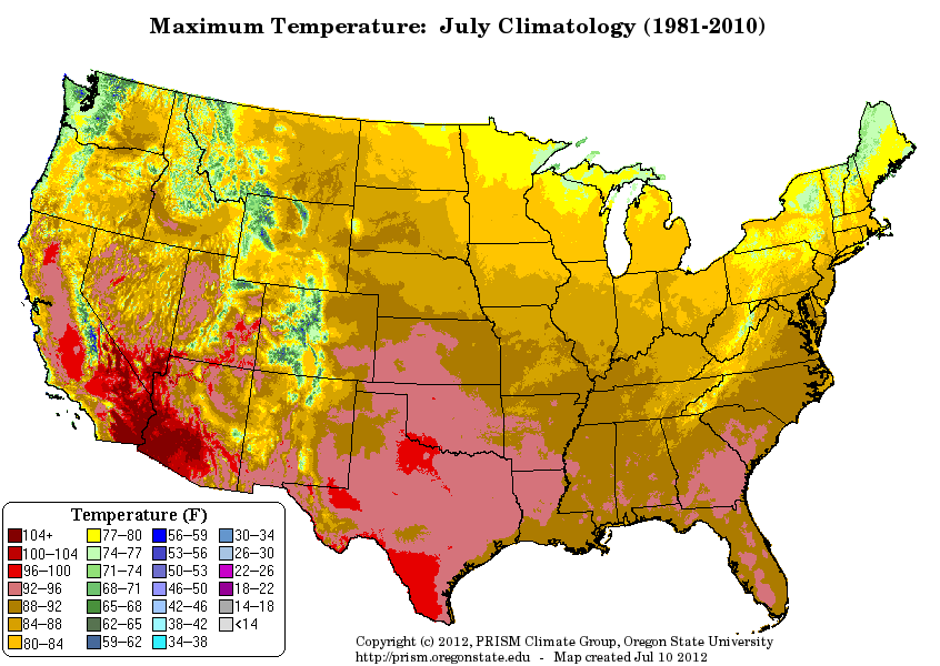 Whats Your Warmest Month Average High Climate Averages - Us average winter temperature map